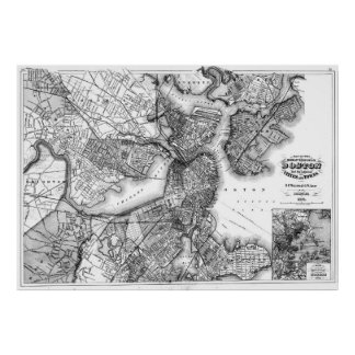Vintage Map of Boston Massachusetts (1871) BW Poster