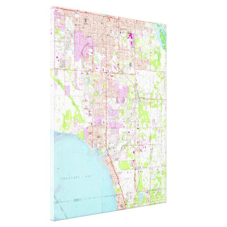 Vintage Map of Bradenton Florida (1964) Canvas Print