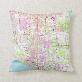 Vintage Map of Bradenton Florida (1964) Throw Pillow