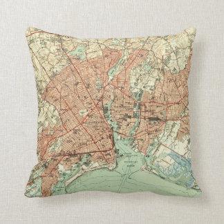 Vintage Map of Bridgeport Connecticut (1951) 2 Throw Pillow
