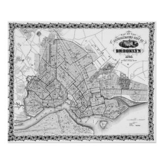 Vintage Map of Brookyln (1868) BW Poster