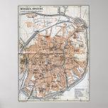 Vintage Map of Bruges (1905) Poster