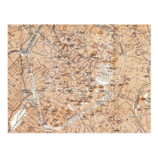 Vintage Map of Brussels (1905) Post Card