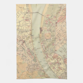 Vintage Map of Budapest Hungary (1884) Towel
