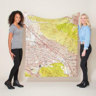 Vintage Map of Burbank California (1953) Fleece Blanket