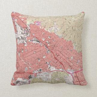 Vintage Map of Burbank California (1966) Throw Pillow
