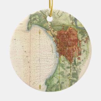 Vintage Map of Burlington Vermont (1763) Ceramic Ornament