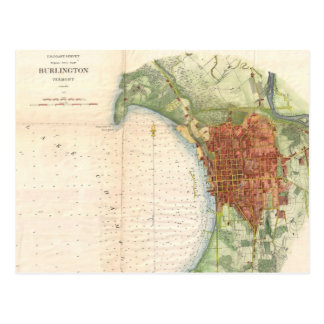 Vintage Map of Burlington Vermont (1872) Postcard