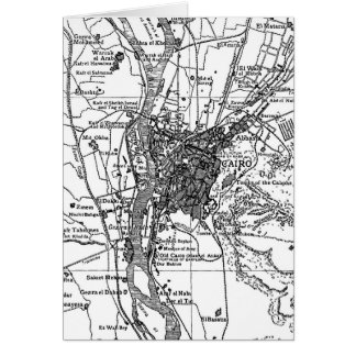Vintage Map of Cairo Egypt (1911) Card