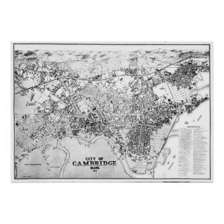 Vintage Map of Cambridge Massachusetts (1877) BW Poster