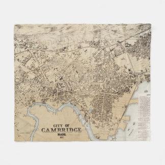 Vintage Map of Cambridge Massachusetts (1877) Fleece Blanket