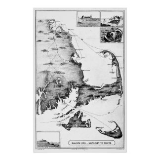 Vintage Map of Cape Cod (1885) BW Poster
