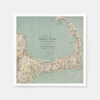 Vintage Map of Cape Cod (1917) Paper Napkin