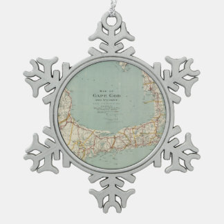 Vintage Map of Cape Cod (1917) Pewter Snowflake Ornament