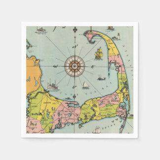 Vintage Map of Cape Cod Paper Napkin