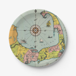 Vintage Map of Cape Cod Paper Plate