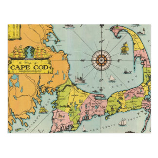 Vintage Map of Cape Cod Postcard