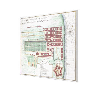 Vintage Map of Cape Town South Africa (1750) Canvas Print