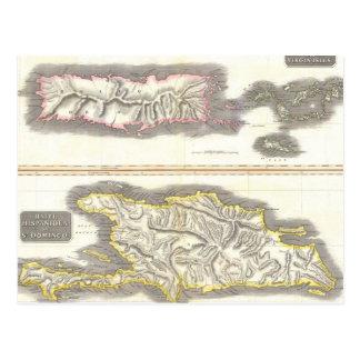 Vintage Map of Caribbean Islands (1815) Postcard