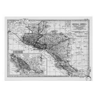 Vintage Map of Central America (1902) BW Poster