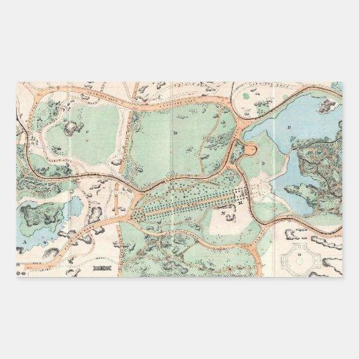 Vintage Map of Central Park (1860) Rectangle Sticker