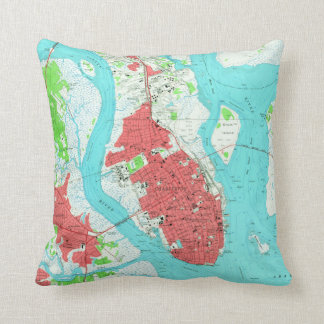 Vintage Map of Charleston South Carolina (1958) 2 Throw Pillow