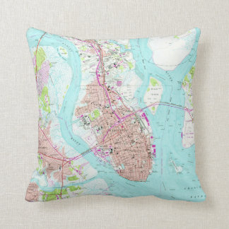 Vintage Map of Charleston South Carolina (1958) Throw Pillow