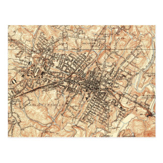 Vintage Map of Charlottesville Virginia (1960) Postcard