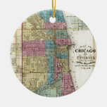 Vintage Map of Chicago (1869) Round Ceramic Ornament