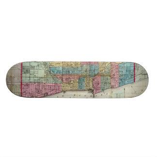 Vintage Map of Chicago (1869) Skate Board Deck