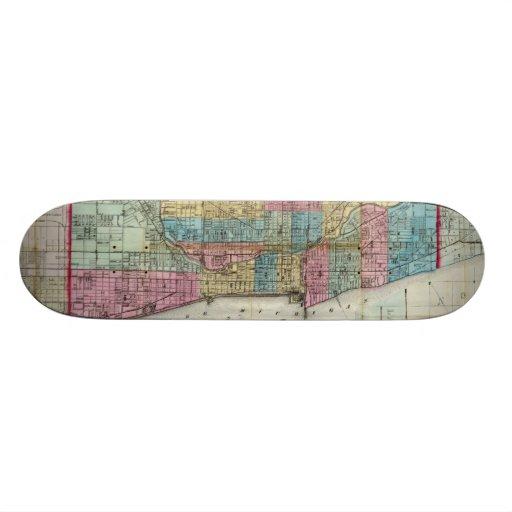 Vintage Map of Chicago (1869) Skateboard