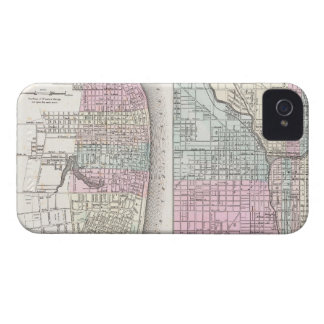 Vintage Map of Chicago and St. Louis (1855) iPhone 4 Case-Mate Case