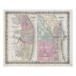 Vintage Map of Chicago and St. Louis (1855) Poster