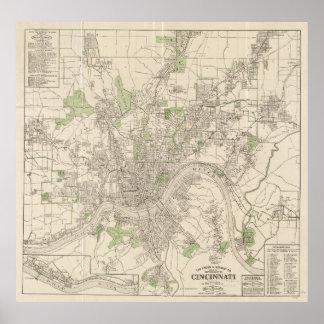 Vintage Map of Cincinnati Ohio (1915) Poster