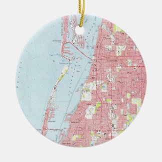 Vintage Map of Clearwater Florida (1974) Ceramic Ornament