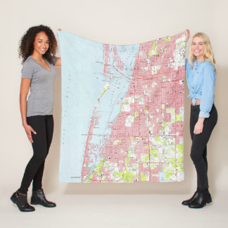 Vintage Map of Clearwater Florida (1974) Fleece Blanket