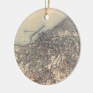 Vintage Map of Cleveland (1904) Round Ceramic Ornament