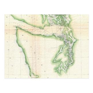 Vintage Map of Coastal Washington State (1857) Postcard
