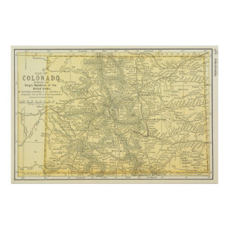 Vintage Map of Colorado (1891) Poster