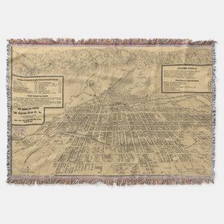 Vintage Map of Colorado Springs CO (1909) Throw Blanket