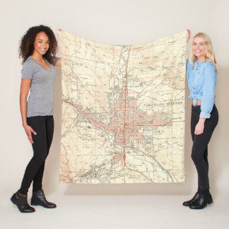 Vintage Map of Colorado Springs CO (1951) Fleece Blanket