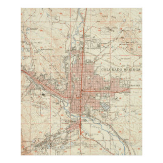 Vintage Map of Colorado Springs CO (1951) Poster