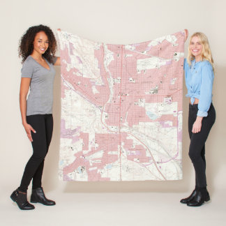 Vintage Map of Colorado Springs CO (1961) 2 Fleece Blanket
