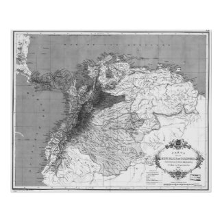 Vintage Map of Columbia (1886) BW Poster