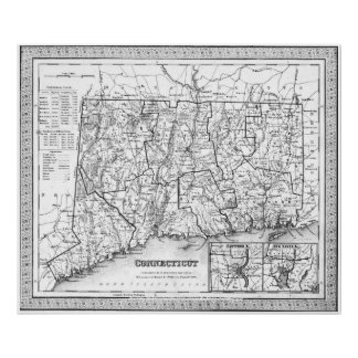 Vintage Map of Connecticut (1846) BW Poster