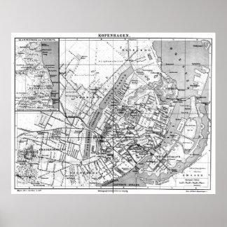 Vintage Map of Copenhagen Denmark (1888) BW Poster