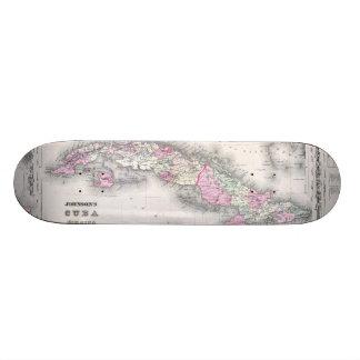 Vintage Map of Cuba (1861) Skate Board