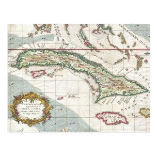 Vintage Map of Cuba and Jamaica (1763) Postcard