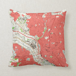 Vintage Map of Dallas Texas (1958) 2 Throw Pillow