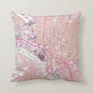 Vintage Map of Dallas Texas (1958) Throw Pillow